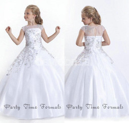 Wholesale 2016 Cheap Crystal Short Sleeves Flowergirl White Flower Girl Dresses Gowns Little Girls Pageant Dresses Size Little Pageant Gowns for Girls