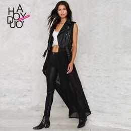 Wholesale summer fashion punk personality PU patchwork chiffon motorcycle jacket leather clothing