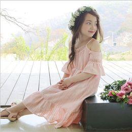 Wholesale Girls Princess Dress for Kids Clothing Summer Flower Lace Tutu Dress Korean Fashion Short Sleeve Cotton Girls Party Dress MK