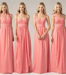 Wholesale 2016 Cheap In Stock Teal Mint colorfulong chiffon Bridesmaid Dresses Summer Beach Wedding Party Gowns robe de soirée free ship Evening Dress