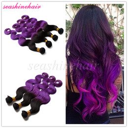Discount ombre human hair wave HOT 8A Human Virgin Hair Extensions 2 Tone Ombre Color Purple 100% Brazilian Virigin Hair Bundles Body Wave Ombre Hair Weave 3pcs lot