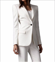 Wholesale Slim Fit Custom made Ivory Women Pant Suits Shawl Lapel Fashion Long Sleeve Ladies One Button Jacket Pants