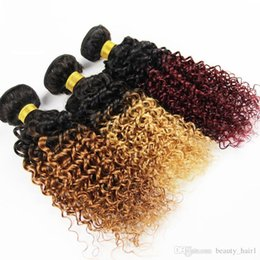 Discount ombre two tone color virgin hair 3,4,5pcs ombre kinky curly hair brazilian peruvian braillian cambodian indian curly virgin hair fast delivery two tone brazilian weave hair