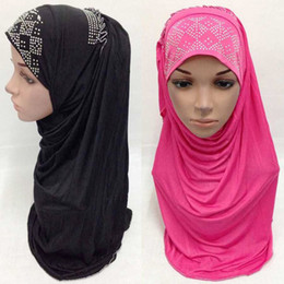 Wholesale Black Muslim Headscarf Hijab Islamic Female bonnet Cap Women colors Cover Scarves Abayas Clothes Hat Drop Shipping