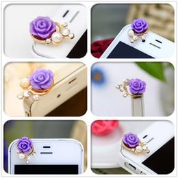 Grano cristalino 1pcs flor de Rose de la perla 3D enchufe anti del polvo encantos de 3,5 mm para teléfono Para Apple4 4S 5 para Samsung Galaxy S3 S4 para HTC