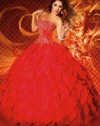 Wholesale Red Quinceanera Dresses Strapless Beaded trajes de Sweet Dresses Masquerade Ball Gowns vestidos de anos