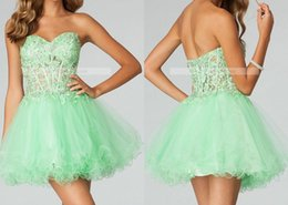 Wholesale New Sweetheart Mini Mint Homecoming Dresses Lace Appliqued Short Corset Prom Dresses Tulle Mini Party Dresses HY00804