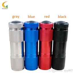Aluminum 4color mini LED Flashlight 9LED UV Ultra Violet Flashlight Torch  Light black light small Aluminum Portable uv 300lm