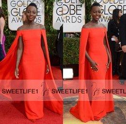 Wholesale La alfombra roja vestidos de la celebridad por encargo del barrido del hombro por encargo del tren de lujo Capa de cubierta Negro Las niñas vestidos de noche de baile