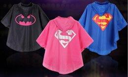 Wholesale 2016 Superman Spiderman Kids Rain Coat Colors Superheros Batman Cosplay Rain Slicker Kids Halloween Waterproof Cape