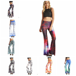 Wholesale Women Flare pants Wide Leg Palazzo Long Casual Boot cut pant Yoga Stretch flower mermaid print casual pant LJJK494