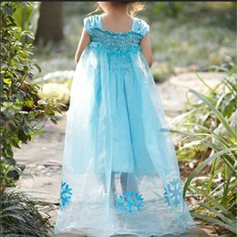 Wholesale New Kids Girls Cosplay Dress Sequin Queen Elsa Frozen Costume Princess Party Fluffy Pleated Fancy Snow Pattern