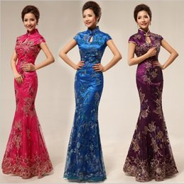 Wholesale Qipao long fashion design flower embroidered mermaid fish tail chinese style cheongsam dress chinese dress blue evening dress
