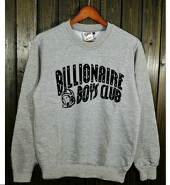 Wholesale Hip hop streetwear billionaire boys club jacket couple outfits S XL Grey Black fleece crew neck sweatshirts urban clothing