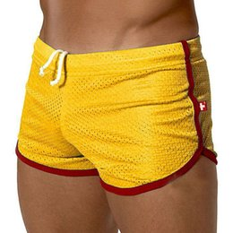 Wholesale 1PCS Sexy Men See Through Men Shorts Slip Sport Boxer Breathable Shorts Men Summer Sports Beach Shorts Wear FX15