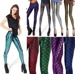 Wholesale 13 Color Novelty Fish Scale Shine women Mermaid leggings NEW Mermaid Fitness leggings punk pants Plus Size Anti exposure trousers