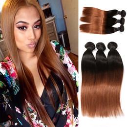 Discount ombre two tone color virgin hair Grade 8A Virgin Brazilian Hair Extensions 8-32inch Silky Straight Ombre Color Two 2 Tone #1b 30 Human Hair Weave 3pcs lot