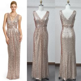 Wholesale Formal Wedding Long Sequins Bridesmaid Dresses Shining V neck Sleeveless Corset Floor Length Column Zipper Party Girls Prom Dress Gowns