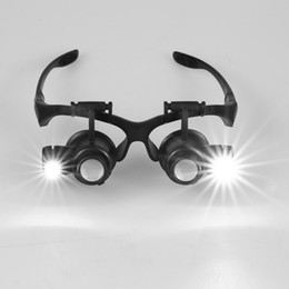 Wholesale 10X X X X Replaement Lens Magnifying Glasses Binocular Loupe Magnifier with LED for Jewelry Appraisal Watch Repair E0575