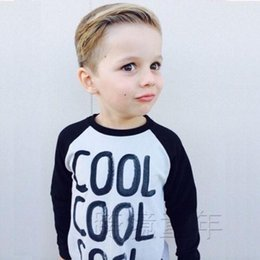 Wholesale 2016 Baby Kid Boys Letter Print Casual T shirt Long Sleeve Pullover Shirt Tops Y