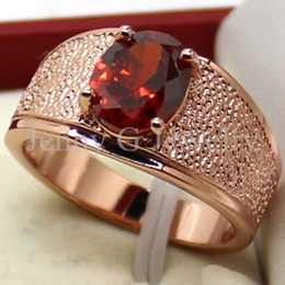 sz 8910 handmade mens lab ruby diamonique rose gold filled wedding band ring - Ruby Wedding Rings