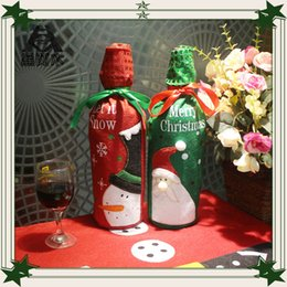 2016 merry christmas decorations dinner table red wine bottle cover bag christmas ornaments party family table accessories wholesale - Christmas Decorations Wholesale