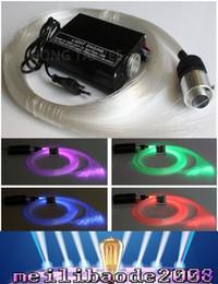 RGB LED Kit de plástico de colores de techo de fibra óptica luz de la estrella 150pcs 0.75mm 2M + 16W RGB luces de fibra óptica del motor + 24key MYY168 remoto