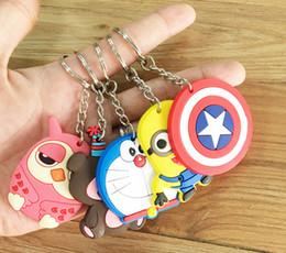 Wholesale 21 styles keychain cartoon Despicable Me cats girl boy bear Doraemon Captain America keychain car pendant Minions doll gift