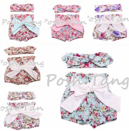 INS hot baby girl Summer 2piece sets outfits Rose floral shorts pants bloomers diaper covers Big bow knot + bunny ears headband headwrap