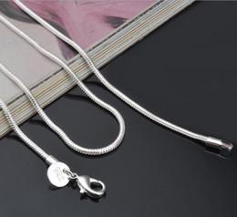 2MM 925 Sterling Silver Snake Chaîne Collier 16 18 20 22 24 pouces Chaînes Fashion Bijoux Haute Qualité Prix d'usine