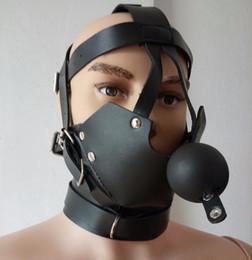 Wholesale Kinky Fetish Bondage estilo del Hippie del Cuello del bozal de la mordaza macho Esclavo Juego del papel de la máscara de juguete traje de cuero de sujeción eróticos