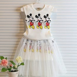 Wholesale Hot Sale Cartoon Girls Summer Sets Outfits Mickey Vest Tank Top Skirt Two piece Kids Children Clothing Fashion Girl Casual Suits