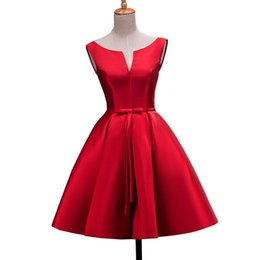 Wholesale High Quality In stock Cocktail Dresses new arrival Red VSS Cute Women Short Satin Vestidos Sexy Women Cocktail Dress