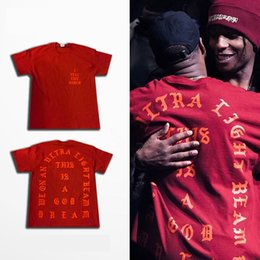 Wholesale 2016 TOP KANYE WEST YEEZY SEASON oversized men s t shirt I Feel Like Pablo Short Sleeve T Shirts HipHop Lovers Cotton tee Red