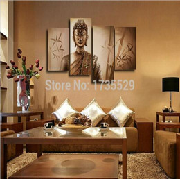 4piece large buddha wall art religion canvas hd oil painting modern abstract home living room wall decor picture