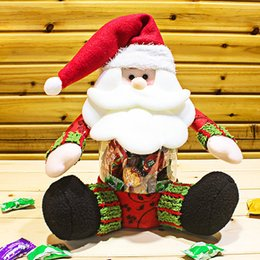 Wholesale New Arrival Flannel Plastic Santa Claus Candy Jar Christmas Red Toy Doll Christmas Decoration Gift For Christmas Gift Decoration