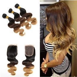 Discount ombre weaves closure 9A Three Tone Blonde Ombre Peruvian Human Hair 3 Bundles With Swiss Lace Closure Body Wave Three Tone Ombre Hair Extensions With Closure