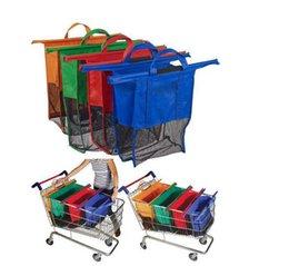 Wholesale Large Size in1 Shopping Grocery Bag For Supermarket Trolleys Carrier Bag Shopping Bag Reusable Trolleys Folding Shopping Bag DHL free ship