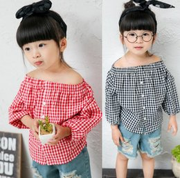 Discount wholesale shirts for summer Kids Fashion Tops Baby Kids Shirt Summer Off Shoulder Top for 1~7 Years 5 p l