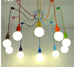 modern pendant lights 13 colors diy lighting multi color silicone e27 bulb holder lamps home decoration 4 12 arms fabric cable black fabric lighting