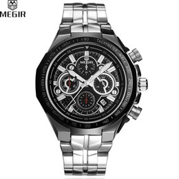 discount accurate watches sports 2017 accurate watches sports on whole megir sport watch men accurate travel time chronograph silver dial stainless steel band men quartz watches erkek kol saati
