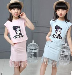 Wholesale 2PCS New Big Girl Clothing CartoonTops Tassel Skirt Set Kids Girl Summer Set Children Casual Tassel Skirt Set CA6C9