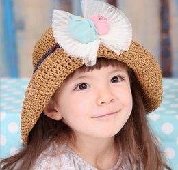 Wholesale New Infant Baby Flower Bowknot Caps Baby Hat Kids Straw Hat Girls Sun Hat Children Summer Hat Child Knitted Bucket Hats Children Beach Hat