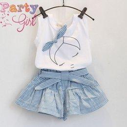 Wholesale Retail Girls suit Korean children s girls clothing set summer new ladies fashion sleeveless t shirt culottes suit