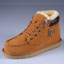2017 casual work shoes men Brand Men Winter cow leather casual wool shoe outdoor Women metal buckle work safety shoe lover suede plush snow martin boots,chestnut,35-44 cheap casual work shoes men