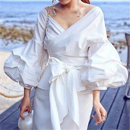 Wholesale Women Fashion White Ruffles Blouse V Neck Ladies Elegant Tops Clothing Shirts Tops Female Clothes Blouses Shirt with Bow Tie