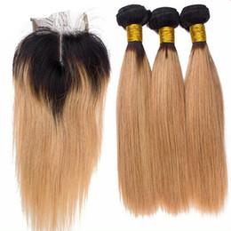 2017 ombre two tone color virgin hair 9A Brazilian Virgin Hair With Closure Honey Blonde Ombre Hair Weave 1Pc Middle Part Lace Closure With Bundles 1B 27 Two Tone Color affordable ombre two tone color virgin hair
