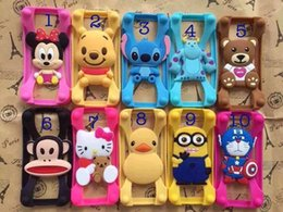 Wholesale Universal Silicone Bumper Frame Cartoon Character Case Mickey Bear Stitch Monster Doll for iPhone s Samsung s6 HTC LG Free DHL