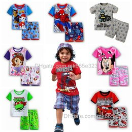 Wholesale 2 T Baby Clothes Summer Children Suits Boys Girls Cotton Short sleeve T shirt pants Pajama Sets Kids Clothing