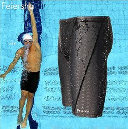 Wholesale And Hot sale sharkskin water repellent men s long racing swimming swim trunks Sport shorts classic men swimwear